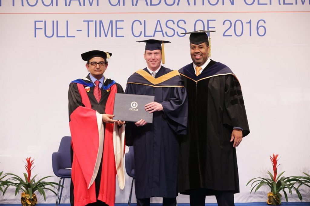 Tim receiving his diploma for his MBA in the class of 2016